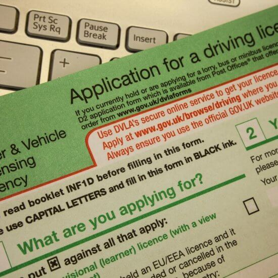 The gov.uk application form to apply for a provisional driving licence by post