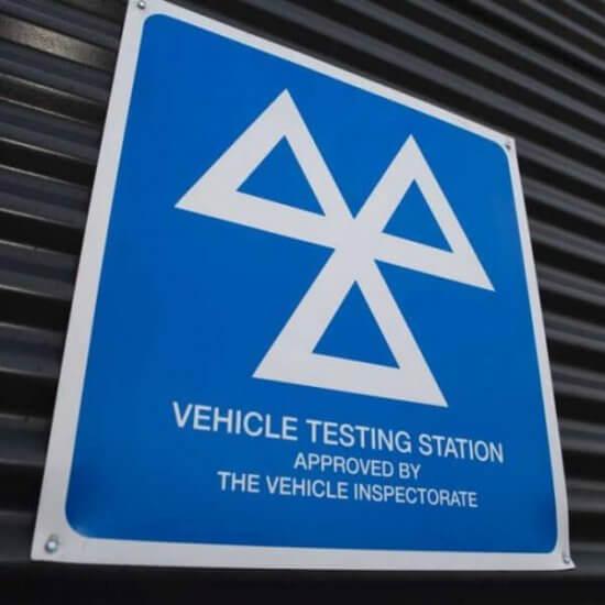 The MOT test centre sign