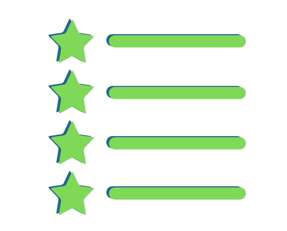 four green stars representing the benefits of provisional insurance